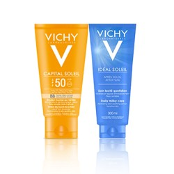 coffret vichy ecran solaire toucher sec teint e spf 50 apr s soleil offert dailypara. Black Bedroom Furniture Sets. Home Design Ideas